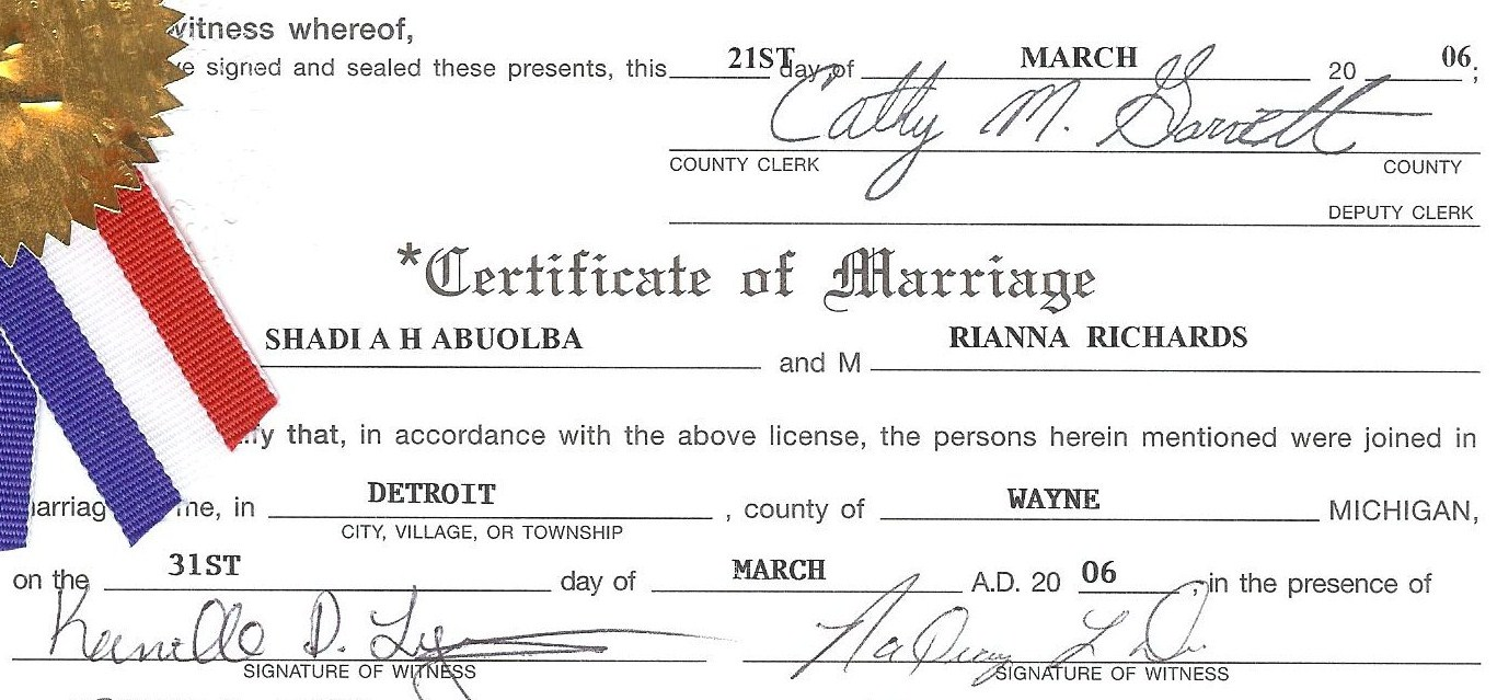 Rianna Richards and Dr. Shadi A.H. Abuolba original Marriage Certificate 2006