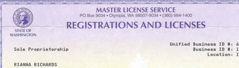 Rianna Richards Company Business License - State of Washington 2010