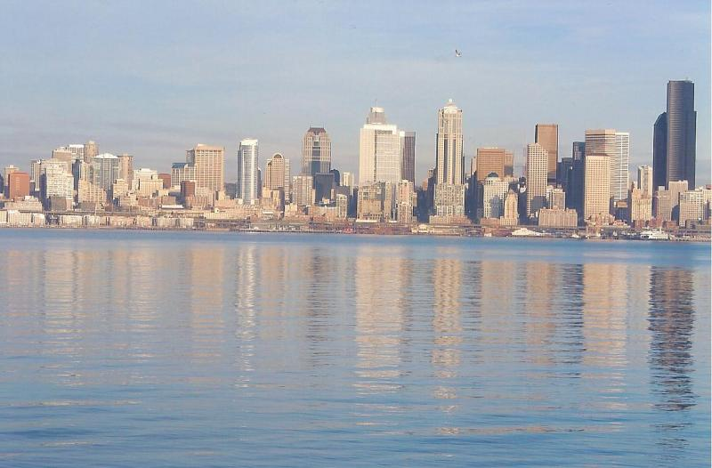 Rianna Richards Photograph - Downtown Seattle, taken from Alki Beach Dec 17 2011
