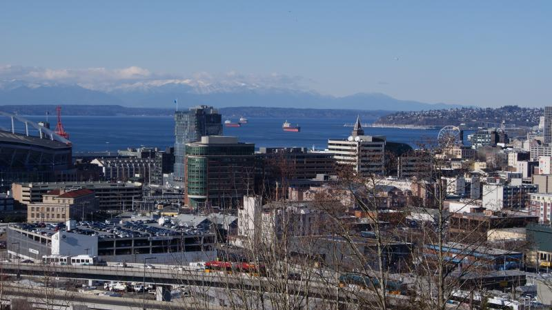 South of Downtown Seattle, Elliott Bay - Photograph by Rianna Richards